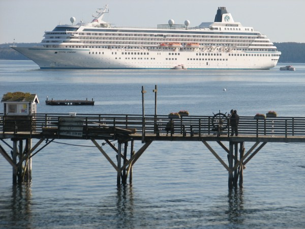 The cruise ship Crystal Symphony sits at anchor in Frenchman Bay off Bar Harbor on Saturday, Oct. 27, 2012. The final three visits for Bar Harbor, scheduled early last week, were canceled due to superstorm Sandy, but still Bar Harbor set a record for annual cruise ship visits with 108.