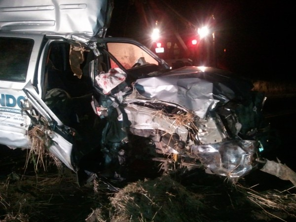 Rescue workers had to use extrication equipment to get a seriously injured passenger out of this one-ton commercial truck that crashed just before 11 p.m. Tuesday, Nov. 13, 2012 on Route 161 in New Canada.