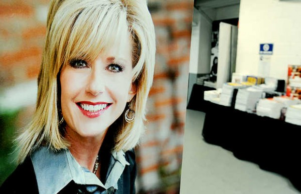 A picture of Beth Moore hangs in the hallway of the Androscoggin Bank Colisee.