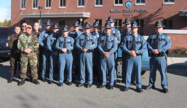 Maine State Police troopers and Cumberland County Sheriff's Department deputies headed to New Jersey on Sunday morning, Nov. 4, 2012 to assist in the aftermath of Hurricane Sandy, which wreaked havoc on the region when it made landfall a week ago.