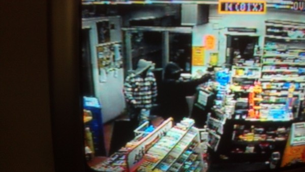 Surveillance image of an armed robbery in Veazie.