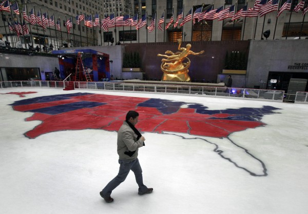 The ice skating rink in New York's Rockefeller Center shows the results of Tuesday's presidential election,  Wednesday, Nov. 7, 2012.