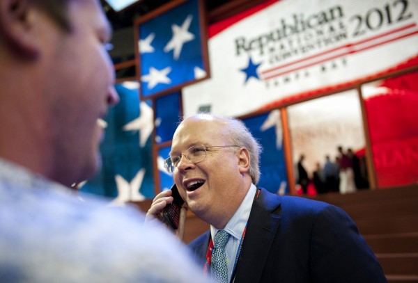 Republican strategist Karl Rove walks the floor of the 2012 Republican National Convention at the Tampa Bay Times Forum in Tampa, Tuesday, August 28, 2012.