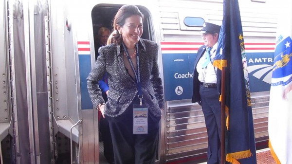 Sen. Olympia Snowe, R-Maine, was one of the first people to depart the Amtrak Downeaster passenger train on Thursday, November 1, 2012, during its maiden voyage from Boston to Brunswick.