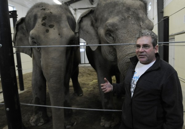 Jim Laurita poses with Rosie (right) and Opal, two Asian elephants at his facility in Hope on Wednesday, Oct. 31, 2012. Laurita has brought the elephants he has known for 30 years to Hope to help them with injuries and to educate the public about elephants including the plight of elephants at the hands of ivory poachers around the world.