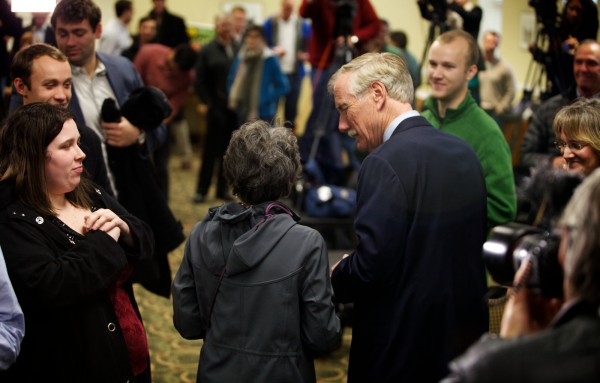 Senator-elect Angus King leaves the stage with his wife, Mary Herman, at the end of a press conference in Freeport on Wednesday Nov. 7, 2012.