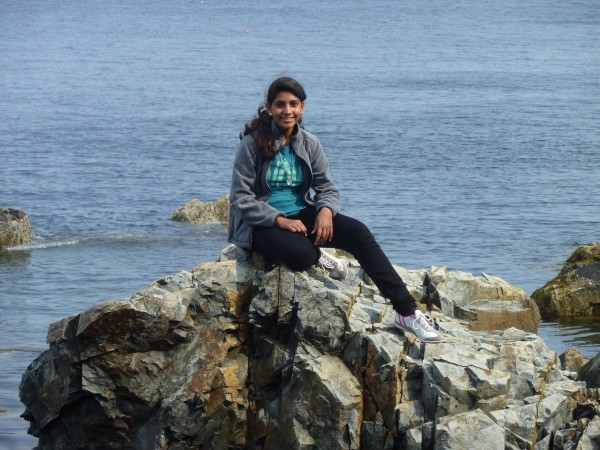 Pakistani teenager Aqsa Munir, exchange student for the 2012-13 school year, enjoyed Columbus Day weekend on the Maine coast.