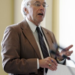 In this July 29, 2005 file photo, Sen. John Martin, D-Eagle Lake, speaks during a debate on bond issues during a special session at the State House in Augusta, Maine.