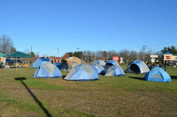 About a dozen tents are set up in front of Bud's Shop & Save in Newport as Boy Scout Troop 63 collects food for an area food bank on Saturday, Nov. 10, 2012.