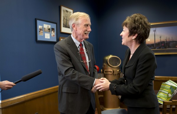 Sen. Susan Collins, R-Maine meets with Sen.-elect Angus King, I-Maine in her office on Capitol Hill in Washington, Tuesday, Nov. 13, 2012, to discuss committee assignments and how they'll work together to represent Maine in the Senate.