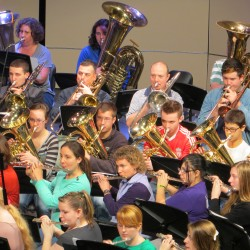Current students and alumni of all ages rehearsed together the morning of Saturday, Nov. 24, before their evening band performance in Hampden Academy's new Performing Arts Center.
