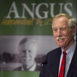 Independent Senator-elect Angus King speaks at a news conference, Wednesday, Nov. 7, 2012, in Freeport, Maine.
