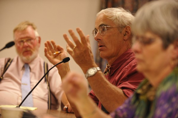 Bangor City Councilor Geoffrey Gratwick (center) joined Gerry G.M. Palmer Jr. (left), Susan Hawes (right) and other council subcommittee members in August 2010.