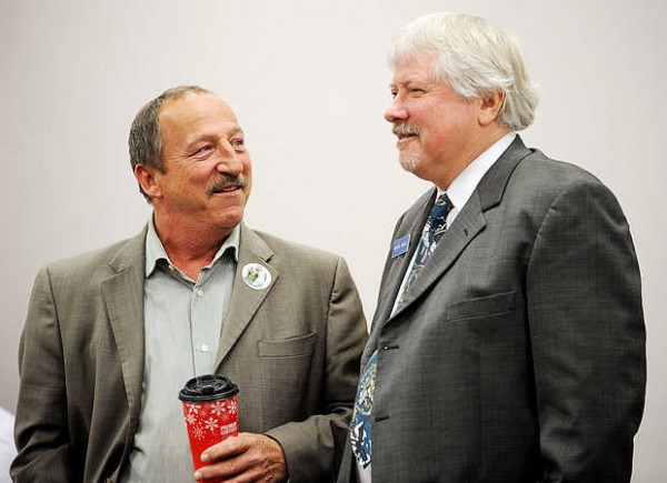 Wayne Werts (right), the Democratic challenger, and incumbent 3-term Republican state Rep. Bruce Bickford, chat during a recount of the House District 70 race Thursday in Augusta. Werts won the seat by four votes.