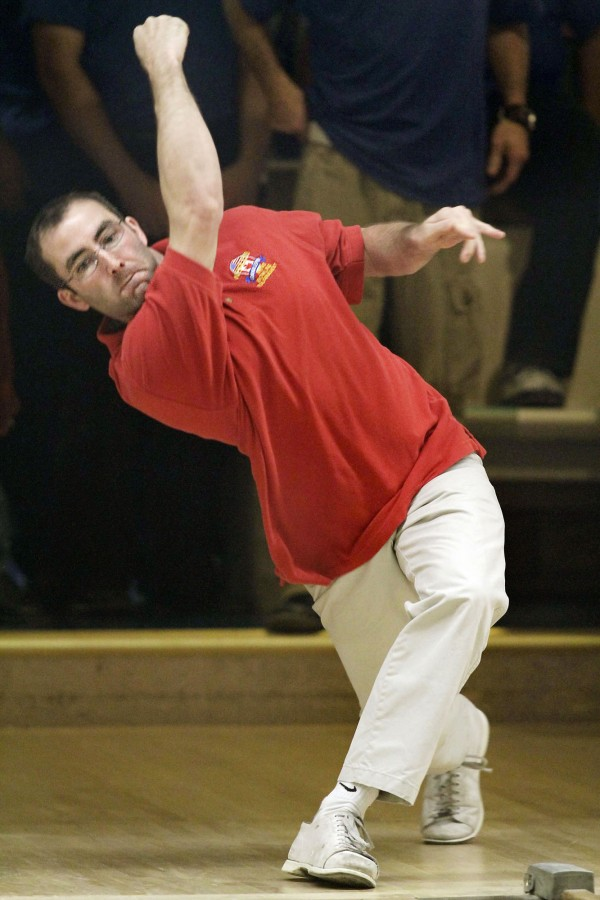 Brewer's Shawn Morrison competes for USA East during the World Team Candlepin Bowling tourney in November 2010 at the Bangor-Brewer Lanes in Brewer. USA East will be seeking its third straight title when the tourney begins Tuesday.