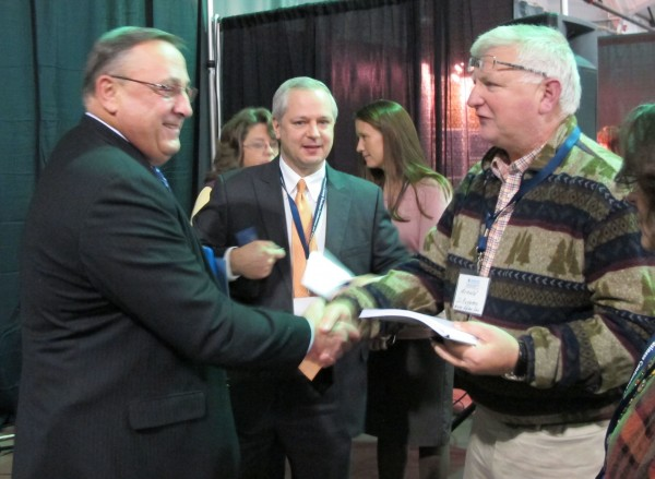 Gov. Paul LePage shakes hands with attendees after giving the keynote address at the first Hancock County Business Conference and Trade Show on Friday, Nov. 2, 2012, at the Ramada Inn in Ellsworth.