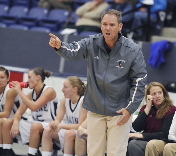 University of Maine women's basketball team plays U New Brunswick in exhibition in Orono, Maine, Thursday Oct. 29, 2012. Maine Coach Richard Barron on the bench in the first half of their game.