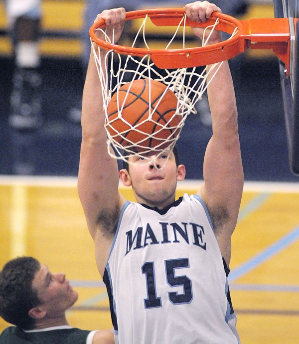 Junior forward Alasdair Fraser (15) is the top returning scorer and rebounder on the University of Maine men's basketball team this season.