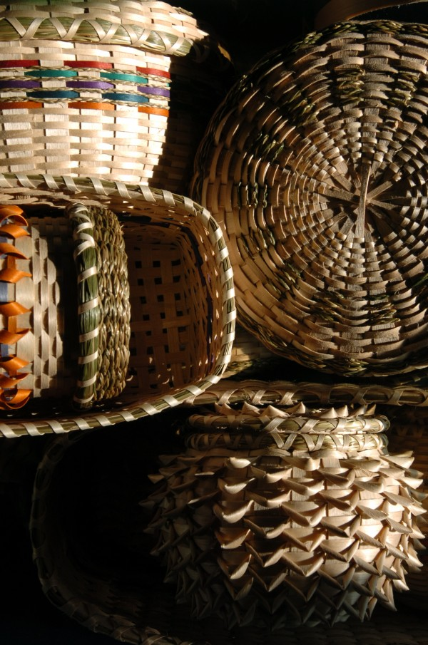 These baskets by master basketmaker Barbara Francis of Indian Island were available at the Maine Indian Basketmakers Sale and Demonstration at the University of Maine Student Recreation and Fitness Center in December 2008.