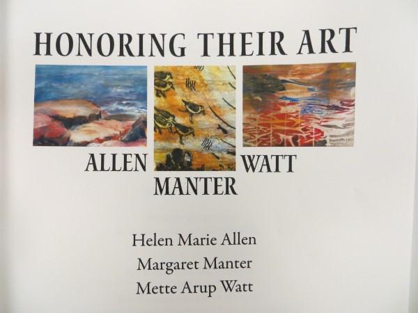 Works by Helen Marie Allen, Margaret Manter and Mette Watt decorate the cover page of the self-guided tour packets for the current art show at Boyd Place: &quotHonoring Their Art.&quot
