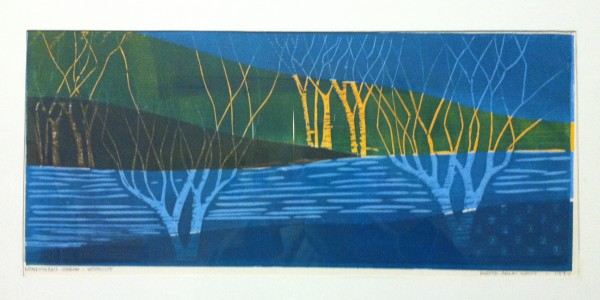 &quotKenduskeag Stream,&quot woodcut by Mette Watt.