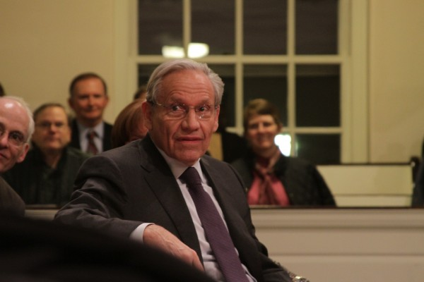 Seasoned Political reporter Bob Woodward was the recipient of the 60th Elijah Parish Lovejoy award Sunday night at Colby College. Speaking to a packed venue, Woodward captivated the audience with &quotwar stories&quot from his uncovering Watergate to present-day political tales.