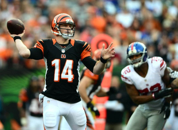 Cincinnati Bengals quarterback Andy Dalton (14) throws a pass in the fourth quarter against the New York Giants at Paul Brown Stadium in Cincinnati on Sunday, Nov. 11, 2012.