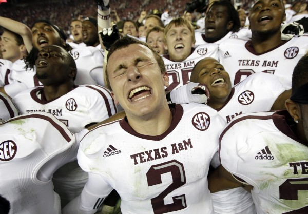 Texas A&M quarterback Johnny Manziel (2) reacts at the end of a 29-24 win over Alabama in an NCAA college football game against Alabama at Bryant-Denny Stadium in Tuscaloosa, Ala., Saturday, Nov. 10, 2012.