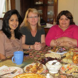 After 20 years as a refugee in the Ukraine, Afghani native Marzia Din Mohammad (far right) now has a home in Brewer, Maine.  In the photo she is joined by her friend and interpreter, Anna Baglay-Bouchard (center), and her daughter, Hila (left).