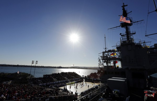 Syracuse plays San Diego State during the second half of an NCAA college basketball game on the deck of the USS Midway, Sunday, Nov. 11, 2012, in San Diego. Syracuse won 62-49.