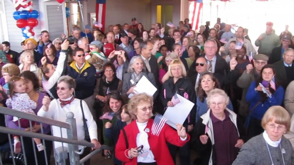 Hundreds of people turned out at Maine Street Station in Brunswick on Thursday, Nov. 1, 2012, to welcome the Amtrak Downeaster's inaugural passenger run from Boston to Freeport and Brunswick.
