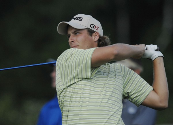 Jesse Spiers tees off on the 17th at Bangor Muni on July 22, 2012.