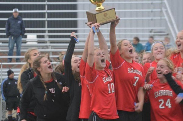 The Scarborough girls' soccer team celebrated its second Class A title in three seasons Nov. 3, after beating Bangor, 2-1, on senior Sarah Martens' goal in the second overtime.