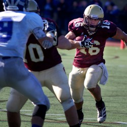 Thornton Academy junior running back Andrew Libby (16) makes a break for it during the Class A Football State Championship game Saturday.