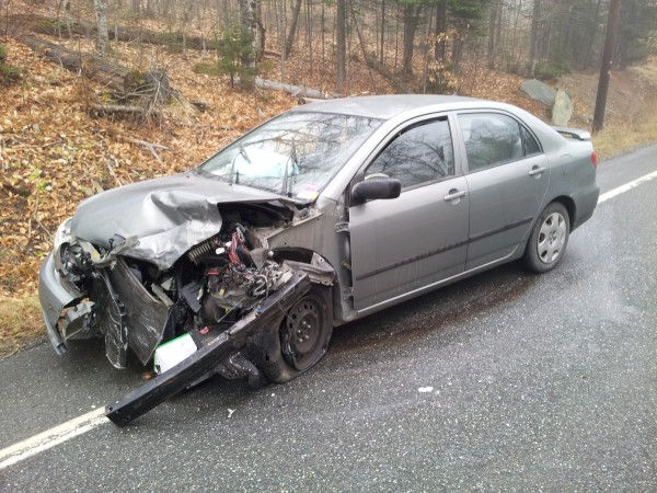 Excessive speed on an icy road is being blamed for a head-on collision Wednesday morning on Route 11 in Moro Plantation in southern Aroostook. Despite both vehicles being totaled, only minor injuries were reported. Robert Lannon, 62, of Fort Kent was driving this 2004 Toyota Corolla when he lost control and skidded into the path of a 2006 Dodge Charger operated by 47-year-old Lincoln Davenport of Glenburn, according to Maine State Police Trooper Timmy Saucier.