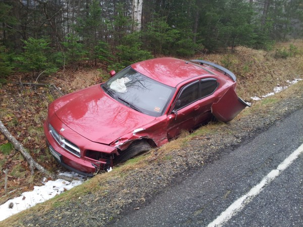 Excessive speed on an icy road is being blamed for a head-on collision Wednesday morning on Route 11 in Moro Plantation in southern Aroostook. Despite both vehicles being totaled, only minor injuries were reported. Robert Lannon, 62, of Fort Kent lost control of his 2004 Toyota Corolla and skidded into the path of this 2006 Dodge Charger operated by 47-year-old Lincoln Davenport of Glenburn, according to Maine State Police Trooper Timmy Saucier.