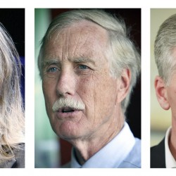 FILE - These 2012 file photos show Maine candidates for U.S. Senate in the November 2012 general election, Democrat Cynthia Dill, left, Independent Angus King, center, and Republican Charlie Summers.