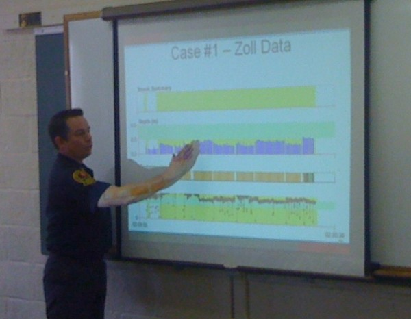 Lt. John Kooistra, a Portland paramedic and quality assurance professional for the department, reviews CPR data from a cardiac arrest case city responders encountered earlier this year. Kooistra led one of the department's monthly Grand Rounds on Nov. 27, 2012, in which paramedics review recent cases and discuss best practices.