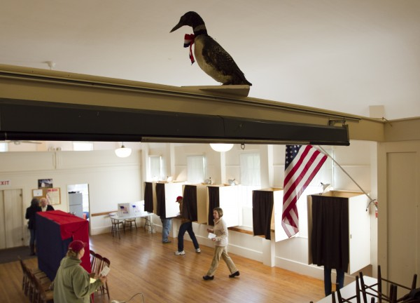A stuffed loon overlooks voters in the Old Town Hall, Tuesday, Nov. 6, 2012, on Westport Island.