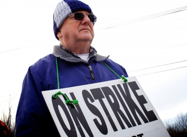 Ken Rumney of Standish stands on strike outside the Hostess Bakery in Biddeford Friday morning Nov. 16, 2012. He started working for the company in 1969.