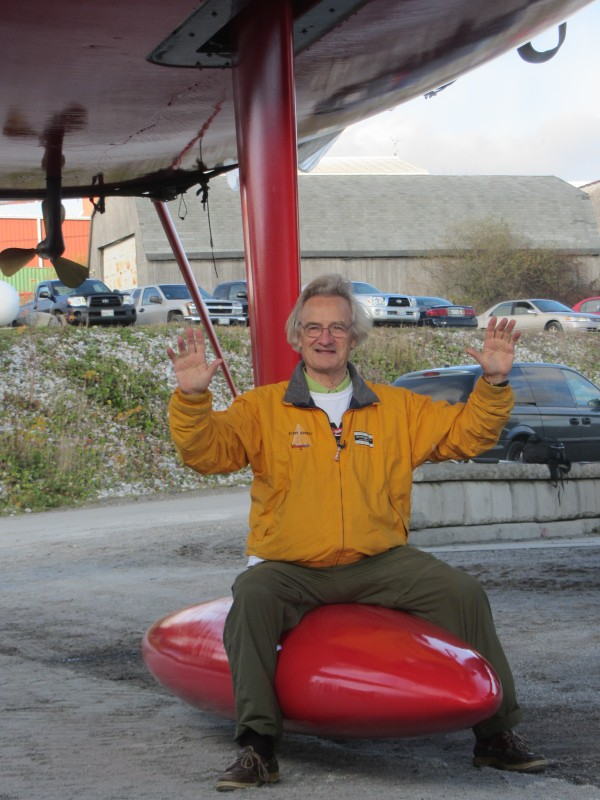 Kiwi Spirit owner Stanley Paris hams it up for cameras before the christening at the Lyman Morse Boatbuilding yard in Thomaston on Thursday afternoon, Nov. 1, 2012.