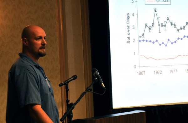 "Carl Wilson, lead lobster biologist with the Maine Department of Marine Resources, presents research on lobster trap density in the Gulf of Maine at the ""The American Lobster in a Changing Ecosystem: A U.S.-Canada Science Symposium,"" which was held Nov. 27-30 at the Holiday Inn by the Bay in Portland."