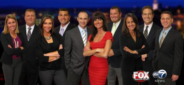 A courtesy image of the news team at Bangor TV stations WVII and WFVX, including Tony Consiglio and Cindy Michaels (center), as well as Lindsey Mills (third from right) and Jared Pliner (second from right).