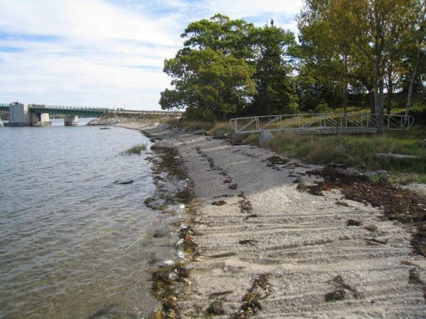 The Bridge End property, located on Little Deer Isle, offers 324 feet of waterfront as well as a 300-foot-long pier in deep water on Eggemoggin Reach.