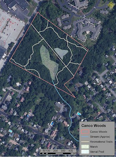 This map, shown by Friends of Canco Woods, depicts the 12-plus acre property the group hopes to permanently protect as recreational space along Canco Road.