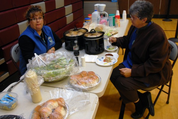 Lincoln Town Clerk Shelly Crosby [left] was among about a dozen poll workers and volunteers who enjoyed free meals at the Mattanawcook Academy polls thanks to Northern Penobscot Tech students on Election Day, Nov. 6, 2012.