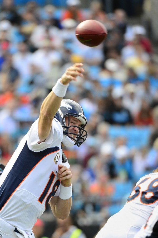 Denver Broncos quarterback Peyton Manning (18) passes the ball in the first quarter at Bank of America Stadium in Charlotte, N.C., on Nov. 11, 2012.