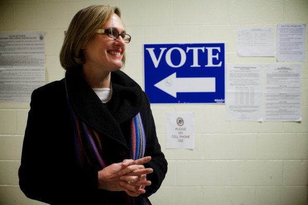 U.S. Senate candidate Cynthia Dill stops at the polls to cast her vote in her home town of Cape Elizabeth on election night.