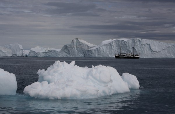 The converted fishing trawler Wanderbird anchored off a glacier in the Arctic this summer.
