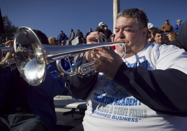 Phil Gadway plays trumpet in the Lawrence Bulldog marching band  at the state championship game Saturday, Nov. 17, 2012, at Fitzpatrick Stadium in Portland.
